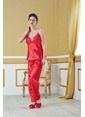 19V69 Italia Dantelli Sabahlık Pijama  Saten Takım Kırmızı